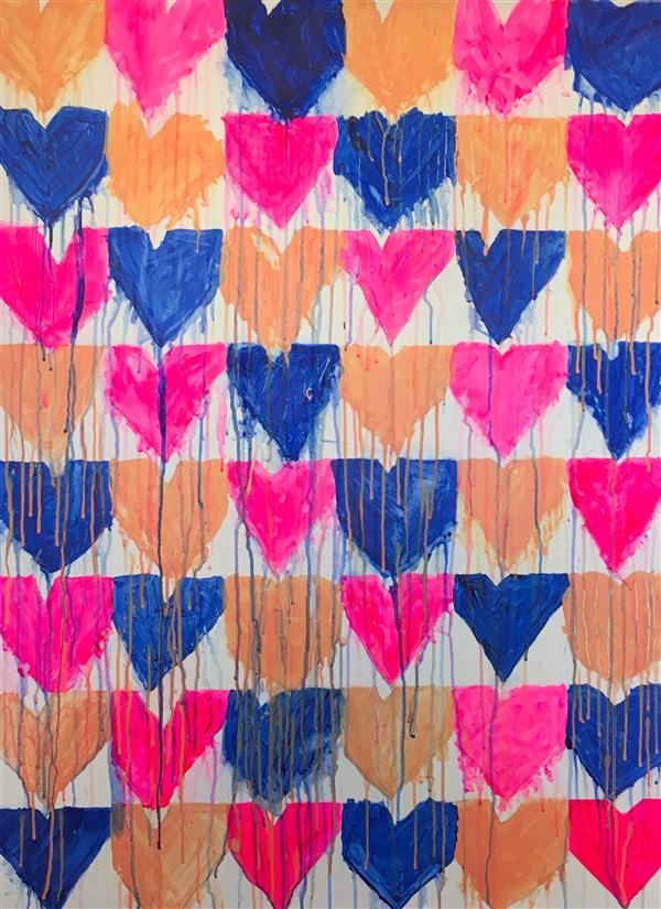 "Second Grade Kerri Rosenthal Inspired Drippy Heart for Auction 30""x40"", Acrylic on Canvas"