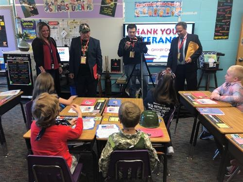 Local  Talk Show Host Visits BV Second Graders for Veterans Day